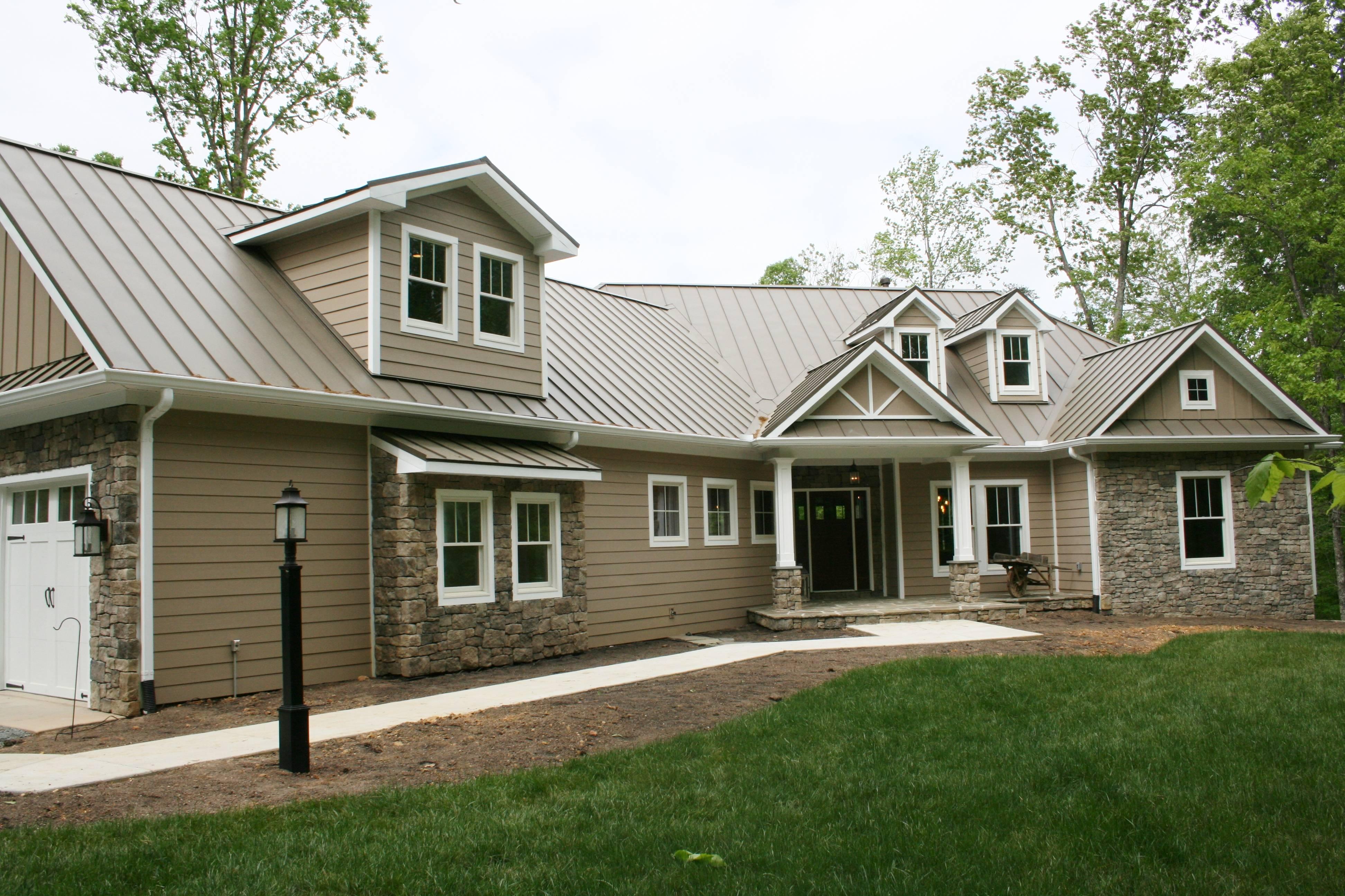 HardiPlank siding, metal roof, stone veneer