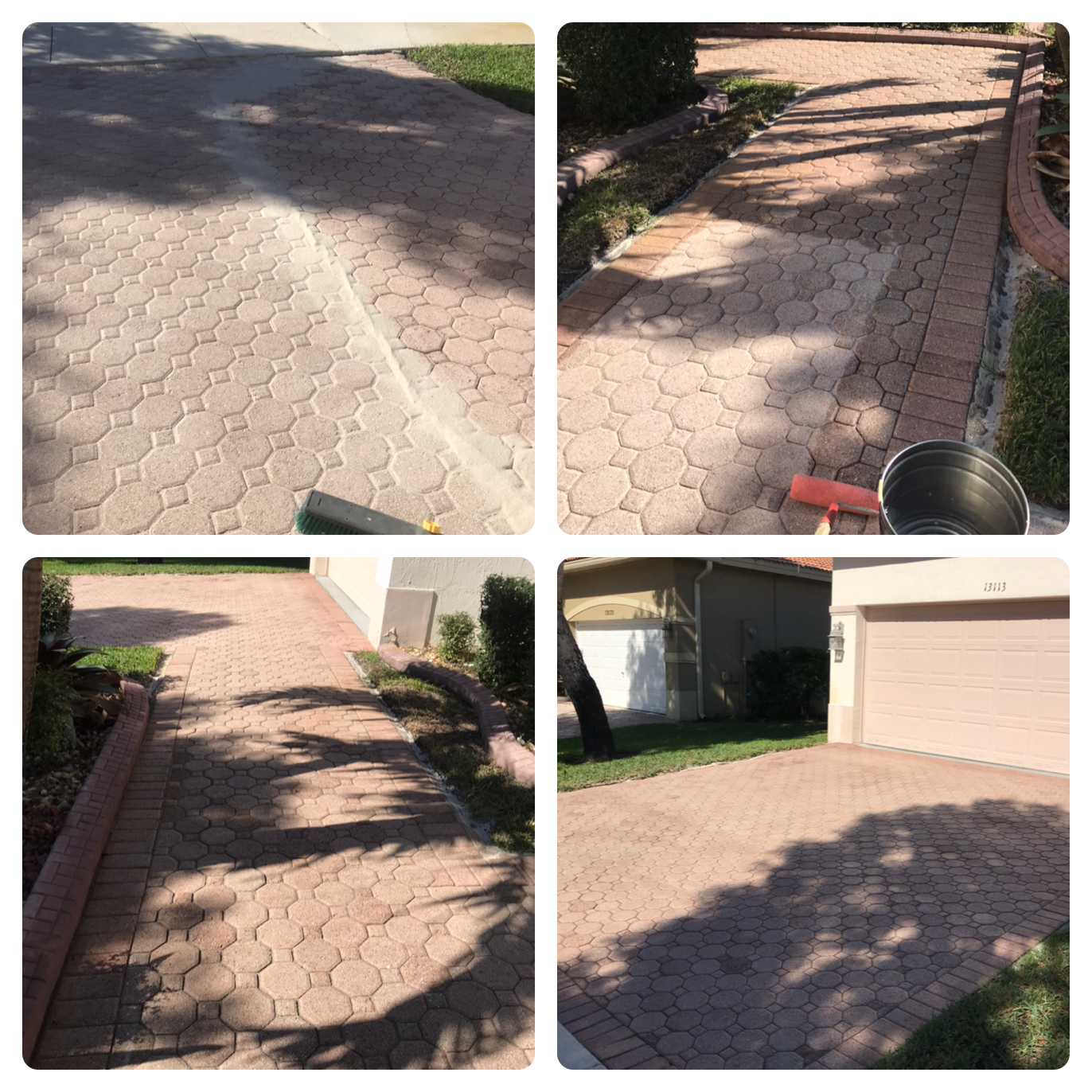 Driveway pressure cleaning and sealing