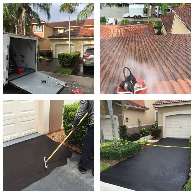 Roof Pressure Cleaning and Blacktop Sealer