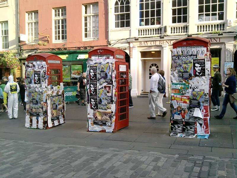 there were once three red phone boxes on Royal Mile