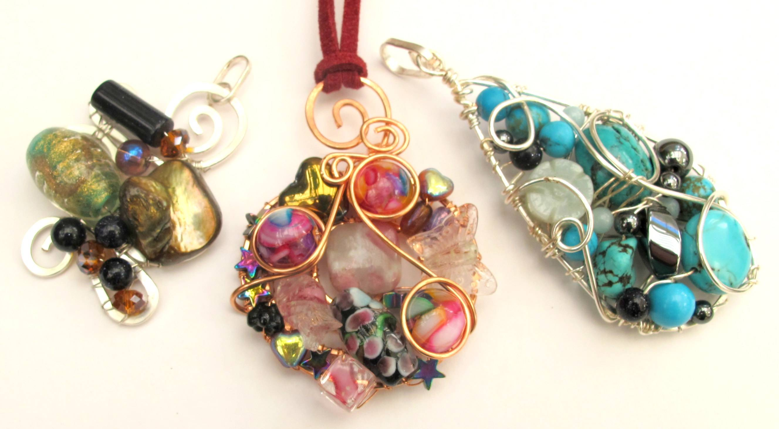 Filled Wire Frame Pendants