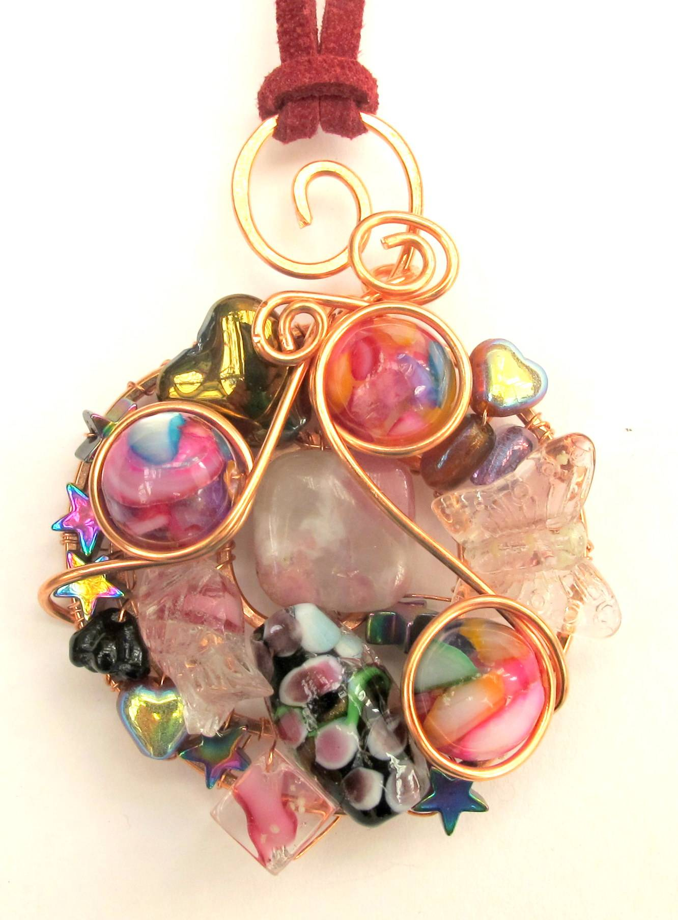 Filled Wire Frame Pendant