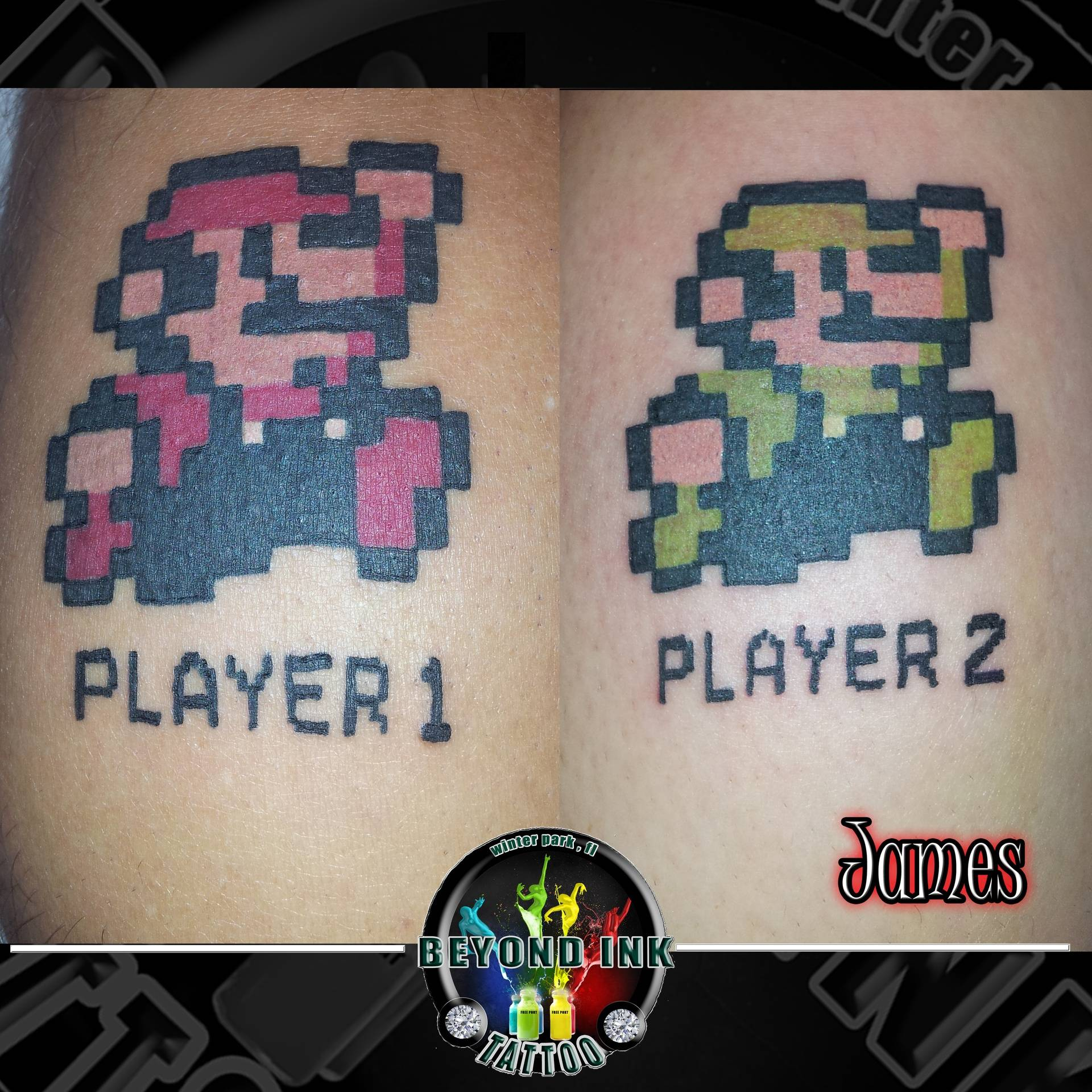 Mario and Luigi Nintendo Pixels Tattoo