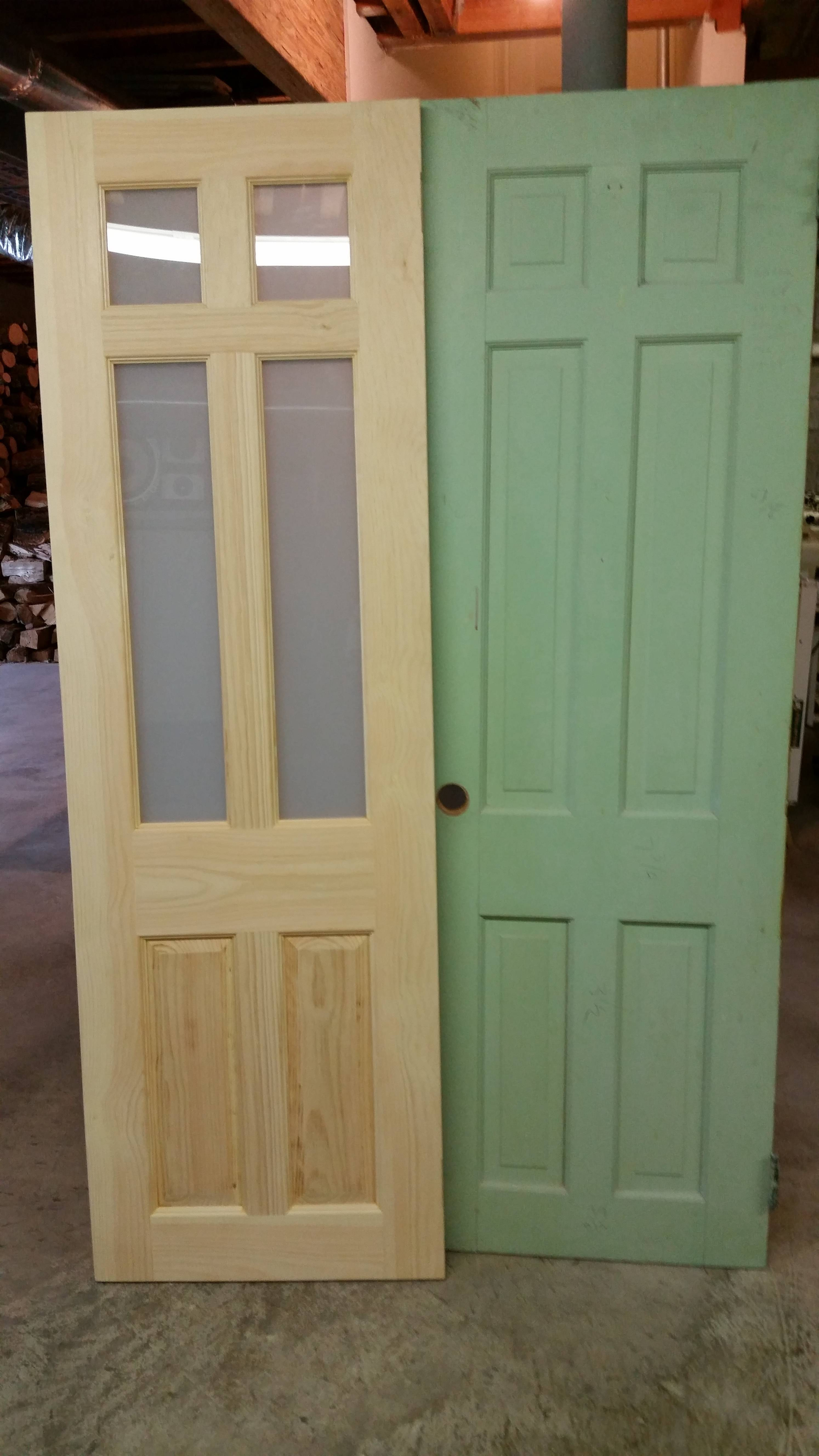 Custom Pine Door With Glass  To Match Original