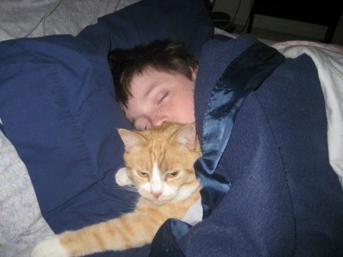 Matthew and Tiger Snuggle
