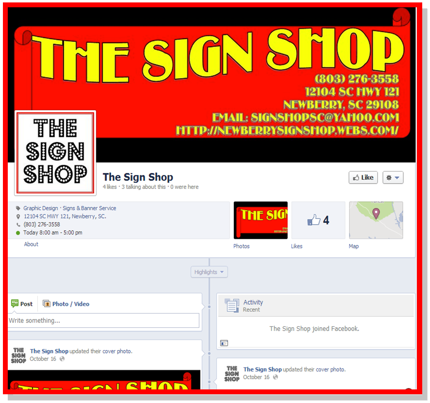 The Sign Shop Facebook Page