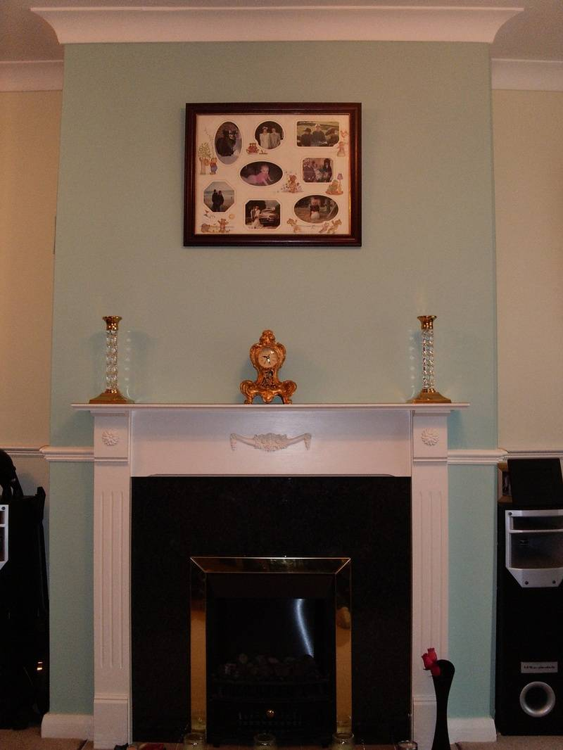 mid blue paint colour on chimney breast feature wall