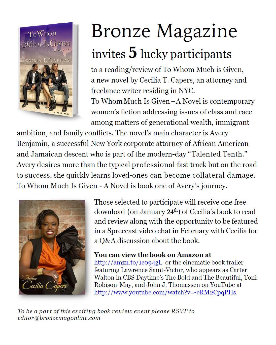 Bronze Magazine Book Promotion