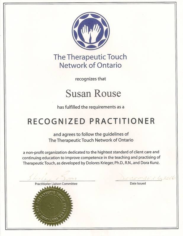 Recognized Therapeutic Touch Practitioner Certificate