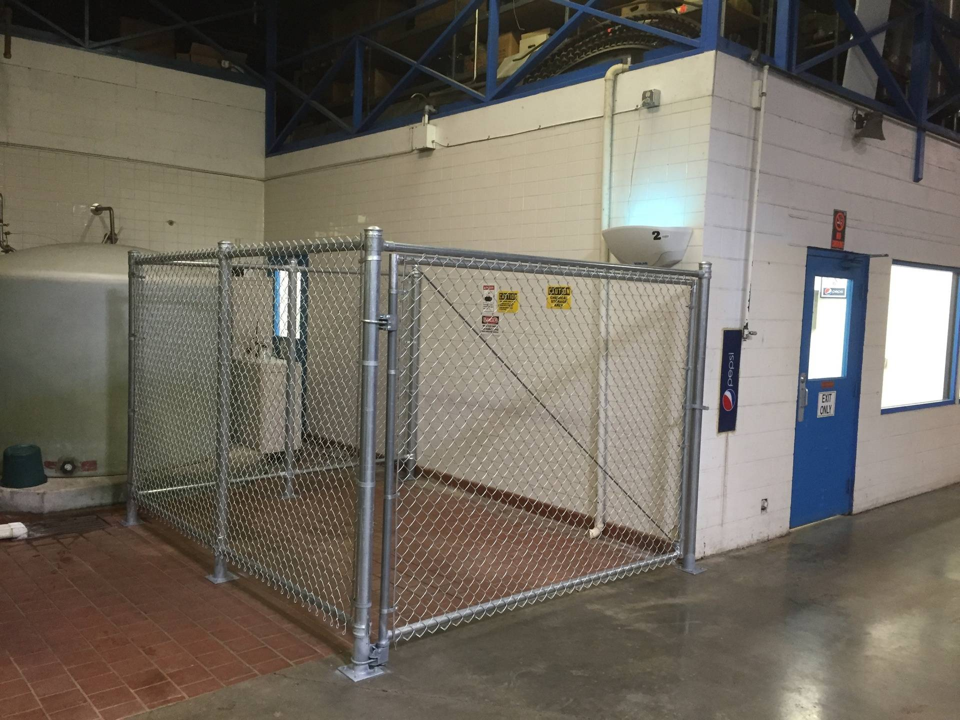 Secure indoor enclosure for chemicals