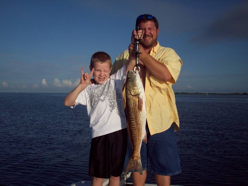 Jacob with his biggest redfish 30""