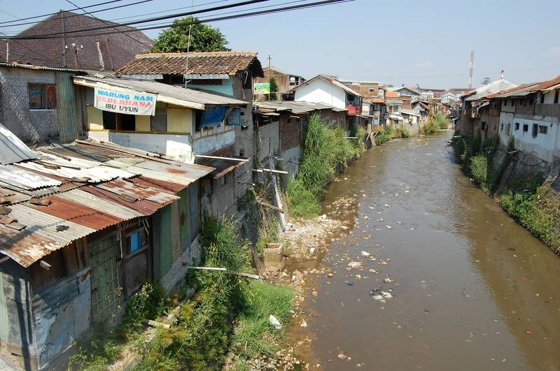 Local sheds by river in Bandung