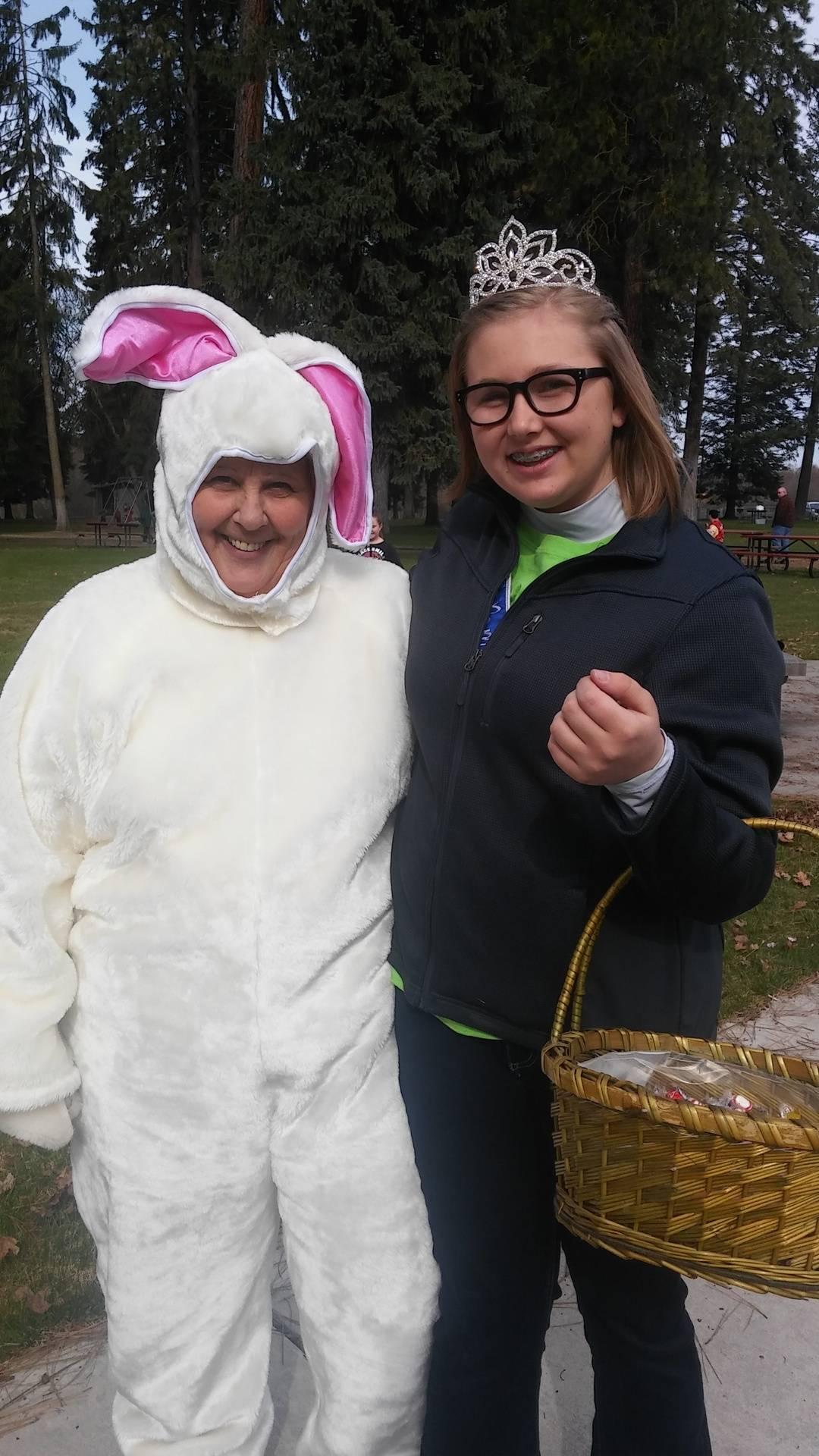 Queen Alexis with Easter Bunny Karen