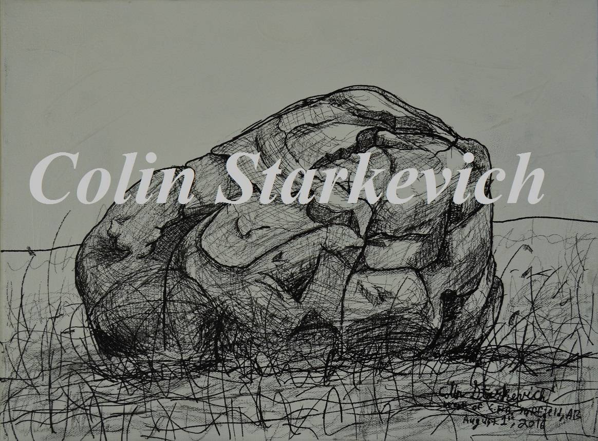 """Erratic Drawing (12 by 16"""" mixed media on canvas)"""