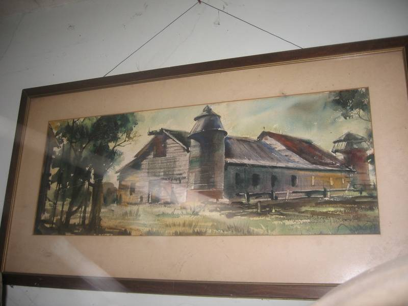 Painting of the old barn inside the house