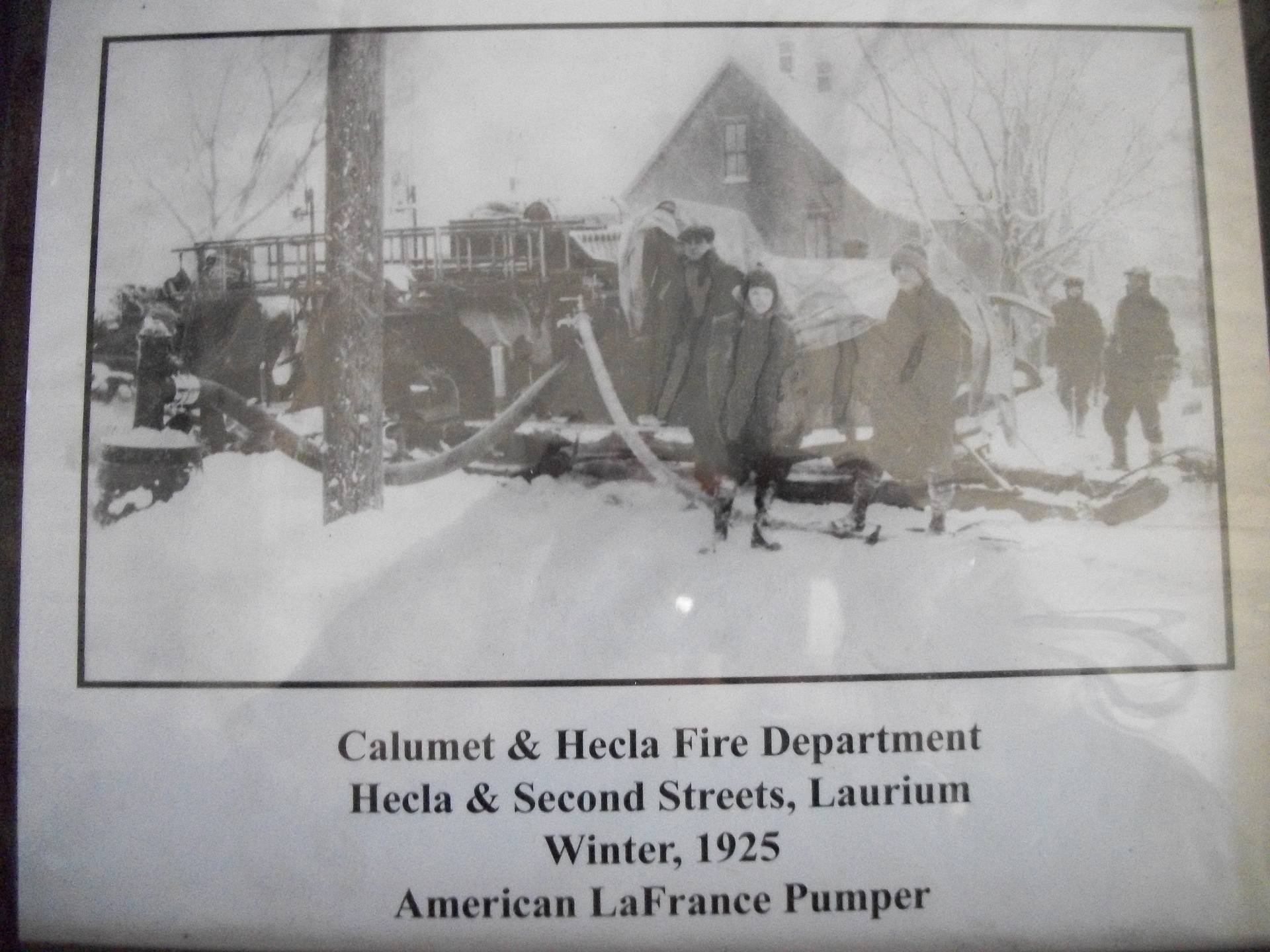 Winter picture of Fire Truck pumper.