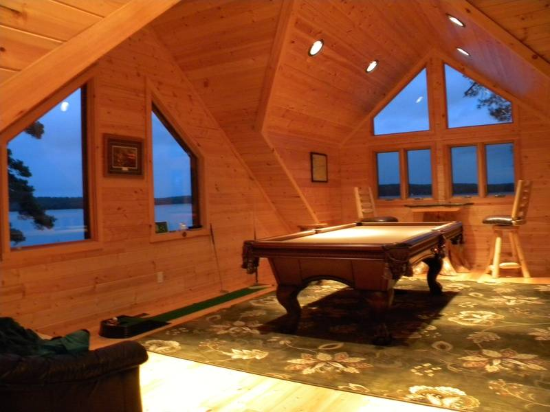 Game room loft with outstanding lake views