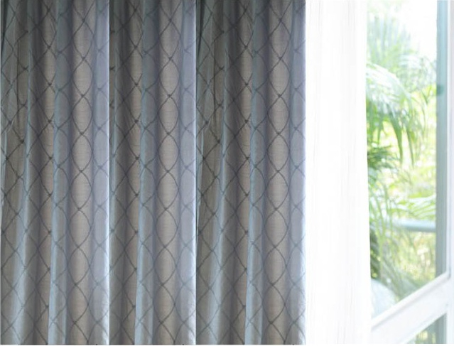 Embroidered Faux Silk curtains Lined-122 inch