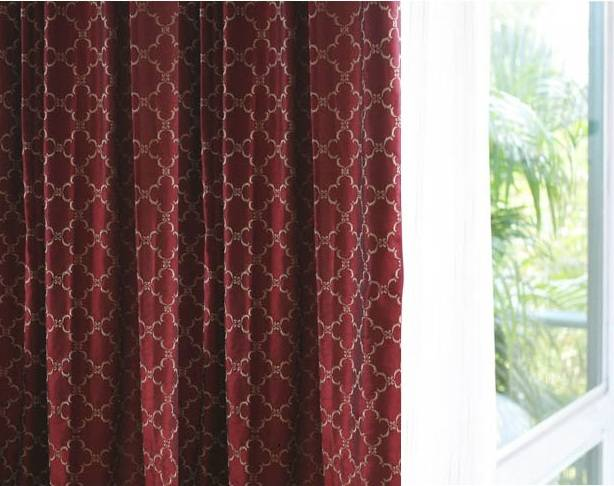 Embroidered Faux Silk curtains Lined-132 inch