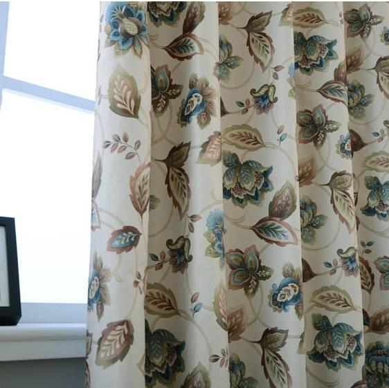 Blackout Floral Print Curtain Panels with Grommet Top