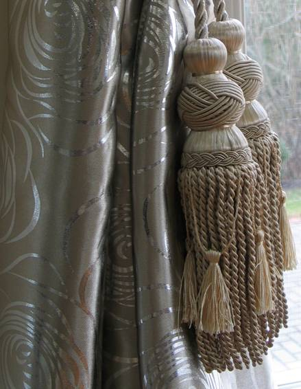 Taupe like Sateen /Silver Metallic Foil Scrolls Embroidered Patterned Blackout  Curtains