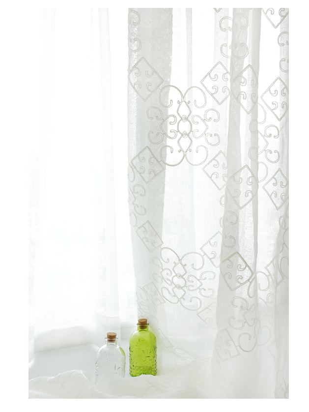 Geometric Embroidered Sheer Curtain Panels