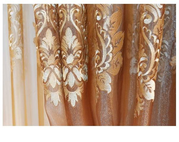 Gold Damask Embroidered Rod Pocket Sheer Curtains -96L