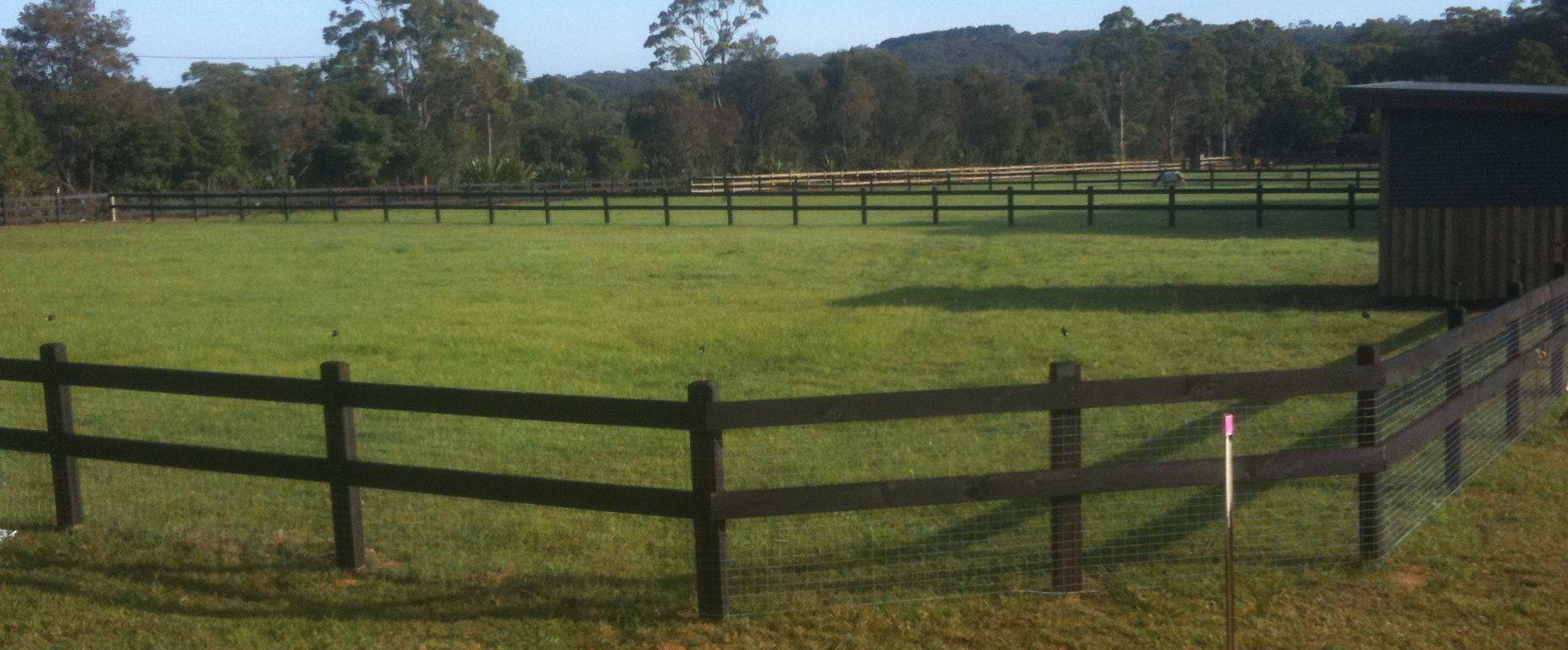 Two rail and mesh fence and stallion box