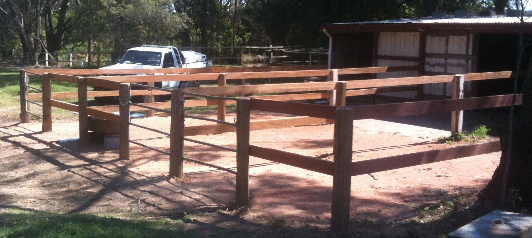 Stable yards at completion of earthworks and fencing