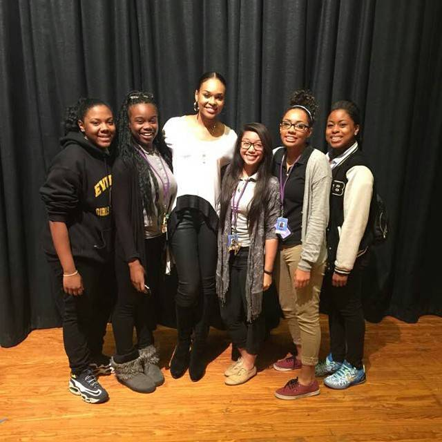Renee, Demetria McKinney, Regine, Arianna Jee and D'Vyne at Everman High School
