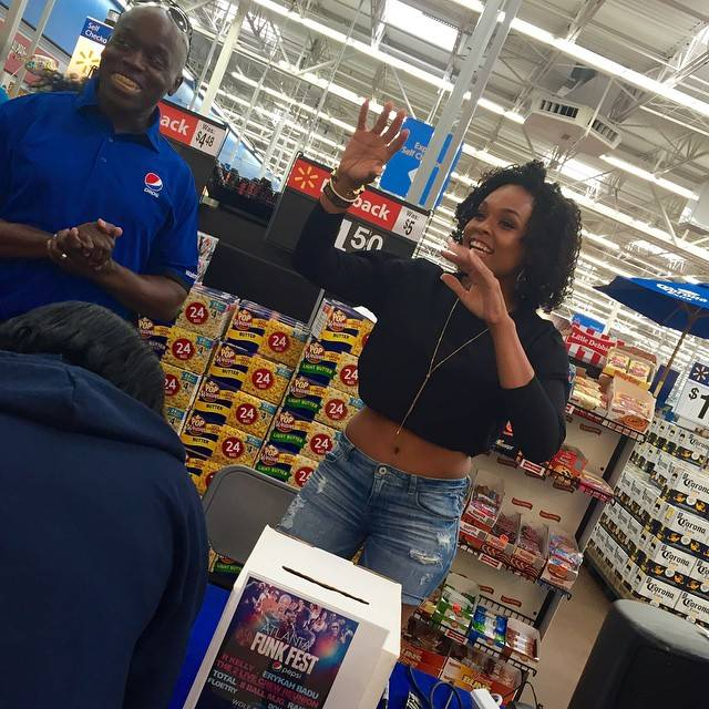 Demetria McKinney and V103 giving away tickets o Funk Fest at Walmart - V103