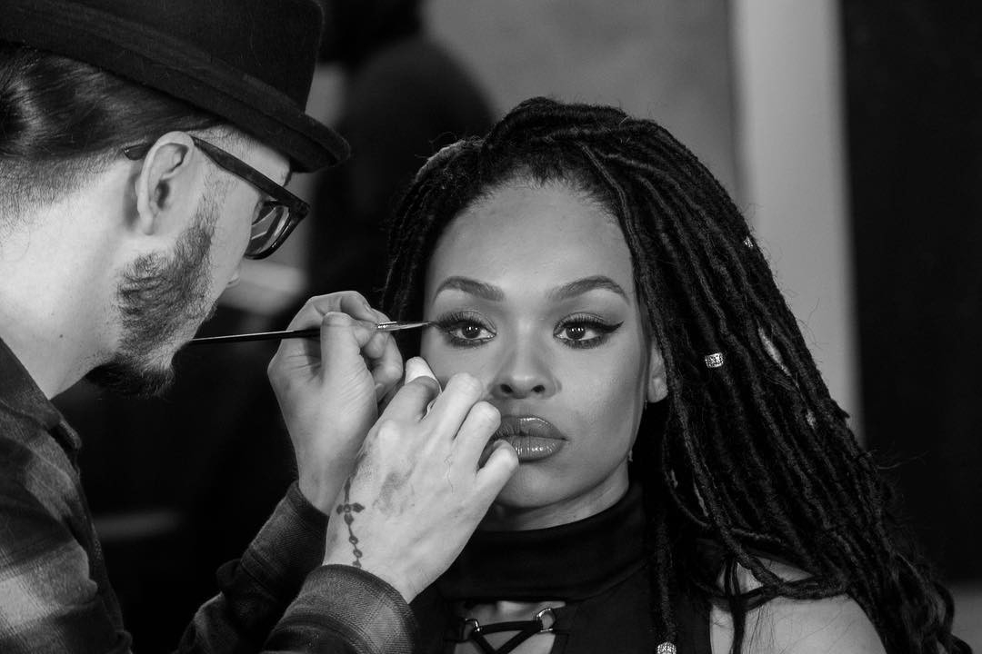 Manny Davila and Demetria McKinney behind the scenes Hair Photo Shoot - Nathan Pearcy Photography