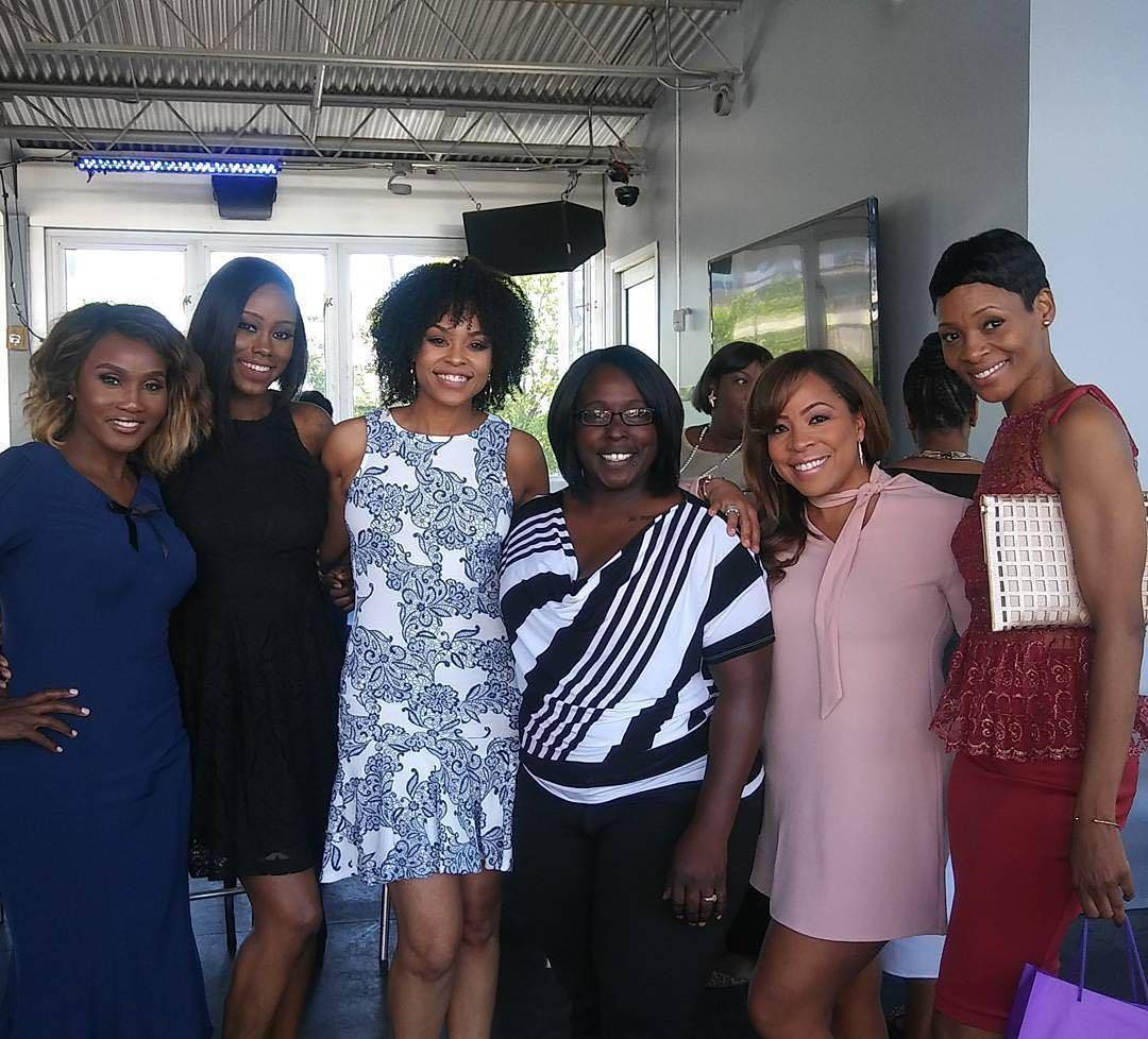 """Carla Stephens, Reece Odum and Dedra Allen attend Demetria McKinney's 2nd Annual """"Because Of You"""" Pre-Mothers Day Brunch"""