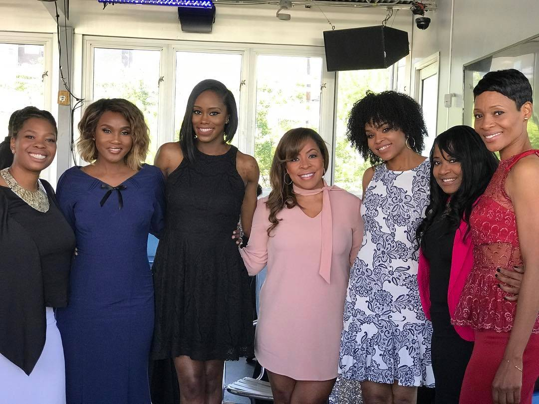 "Carla Stephens, Reece Odum, Monica Elam and Dedra Allen attend Demetria McKinney's 2nd Annual ""Because Of You"" Pre-Mothers Day Brunch"