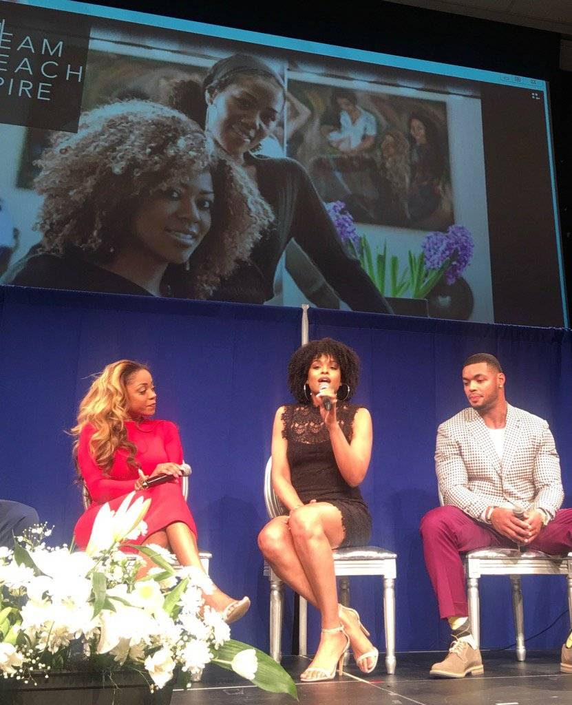 Latavia Roberson, Demetria McKinney and Johnathan Casillas attend The Phill Taitt Show - Dream Reach Inspire
