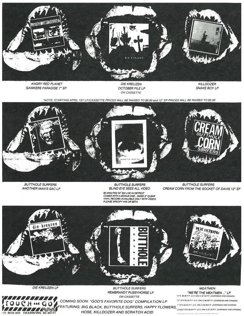 Touch & Go mailer circa 1986