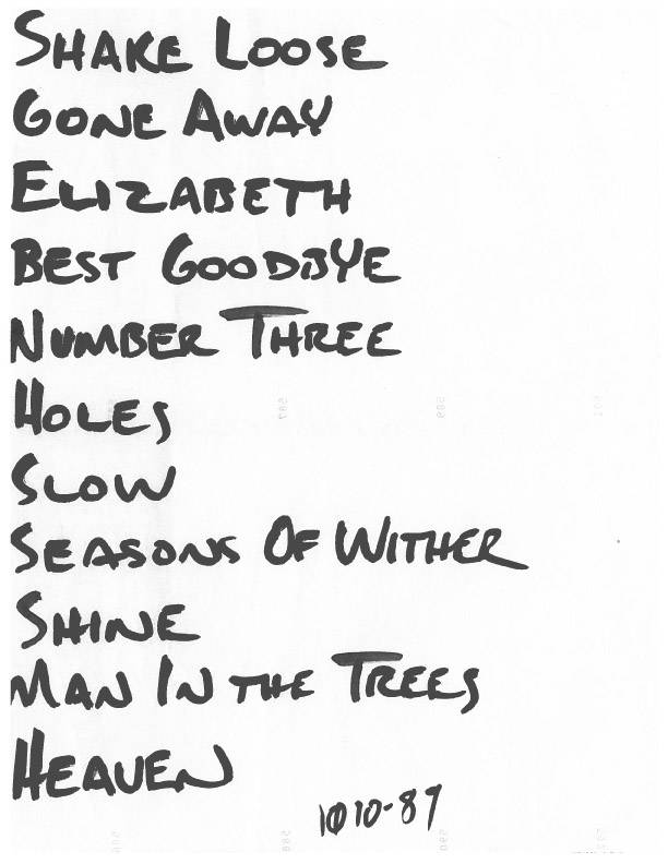 Setlist for show at unknown venue, likely Milwaukee, 1989-11/10-10