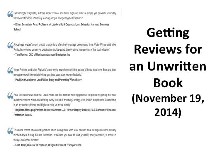 Getting Reviews for an Unwritten Book (November 19, 2014)