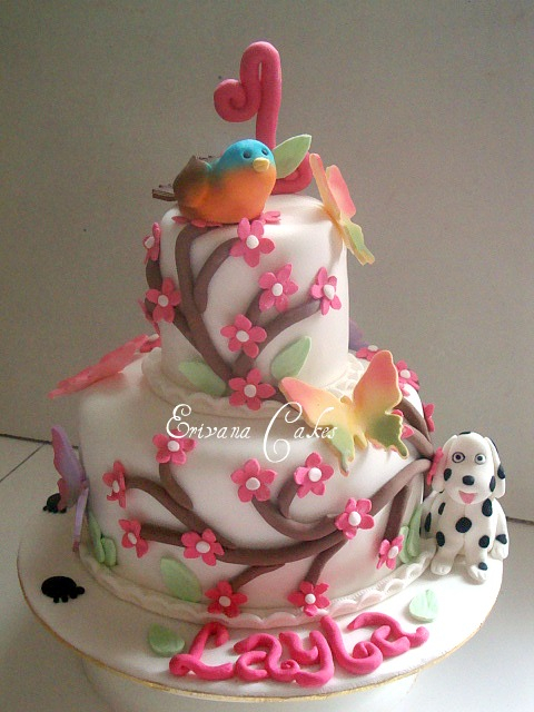 Cute Bird, Dalmatian and butterfly themed cake (B078)