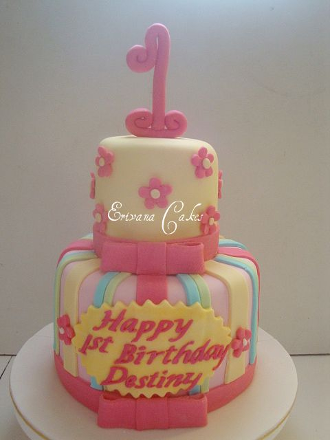 Fuschsia Pink and Yellow Cake (B118)