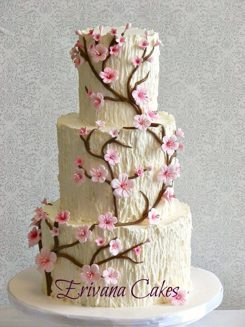 Tree Trunk Cherry Blossom Wedding Cake