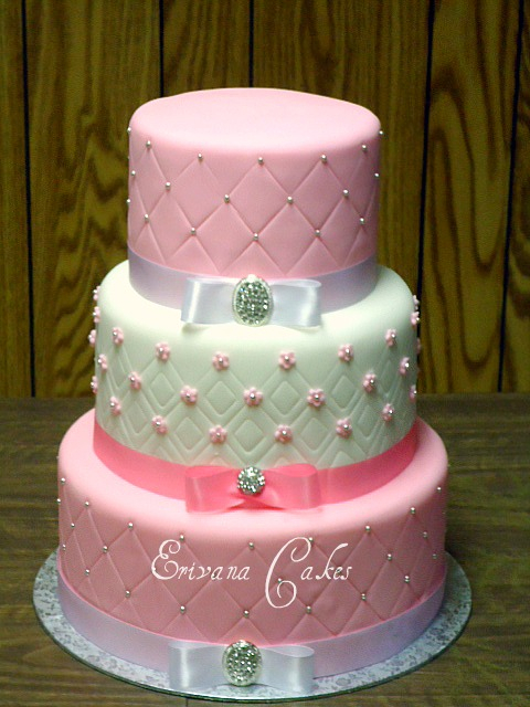 Pink and White wedding Cake 6 (W008)