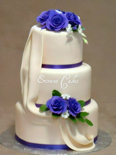 Purple and ivory wedding cake 2