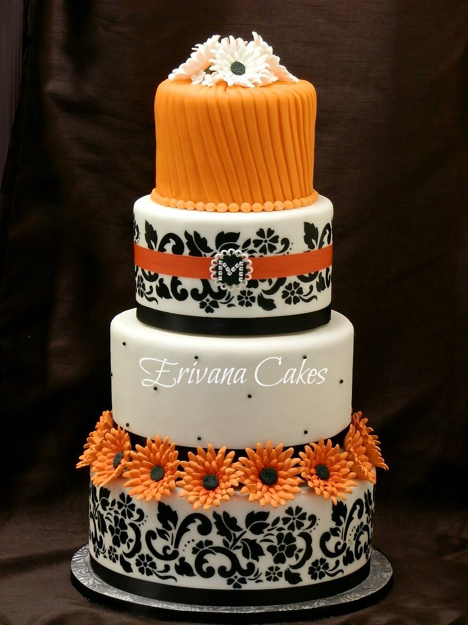 Orange and Black Damask cake