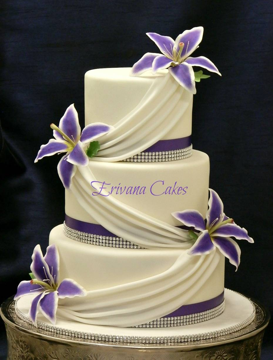 Purple and white wedding cake 3