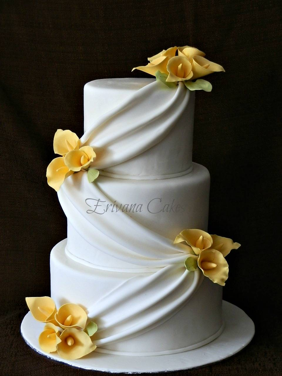 Yellow and White Wedding Cake