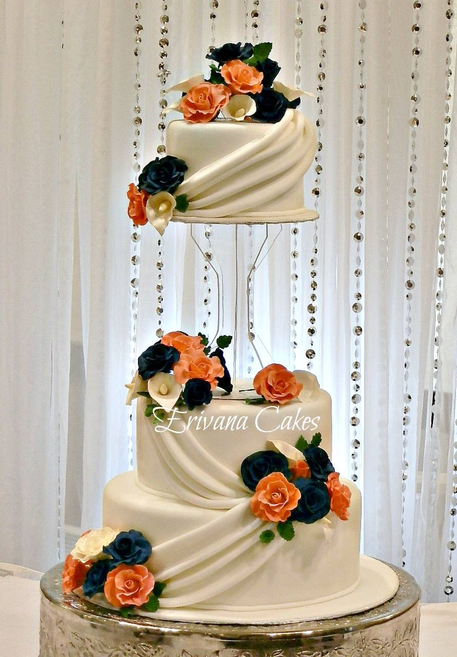 Coral and Navy Blue Wedding cake