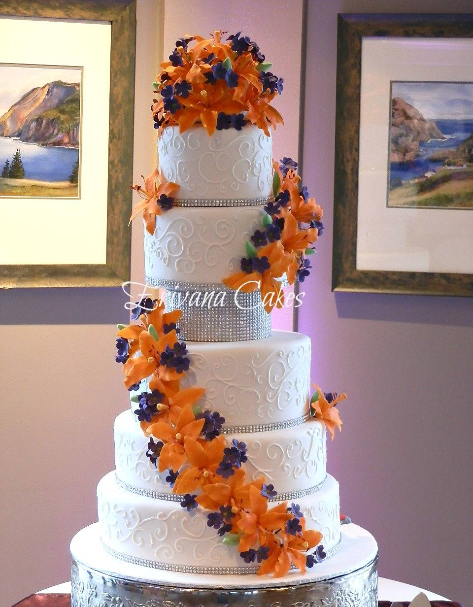 Orange and Purple Wedding cake