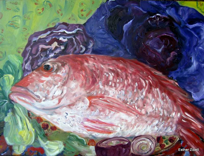 still life with red snapper