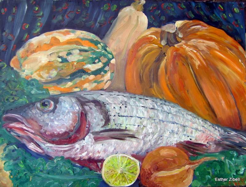 still life with sea bass